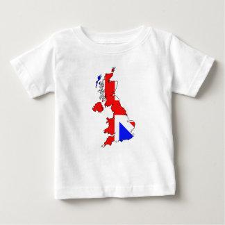 イギリスの地図のベビーのTシャツの英国国旗の旗 ベビーTシャツ
