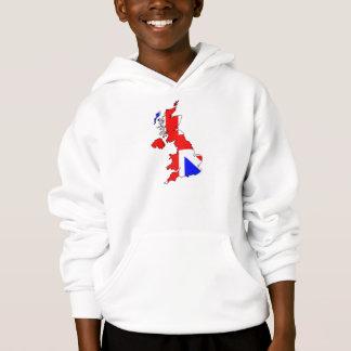 イギリスの地図の英国国旗の旗はフード付きスウェットシャツをからかいます