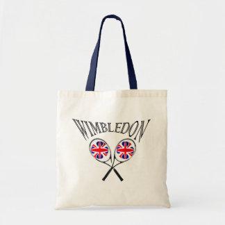 イギリスの旗のウィンブルドンのテニスラケットおよび球 トートバッグ