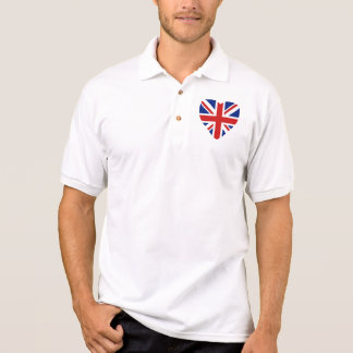 イギリスの旗のハートおよび地図 ポロシャツ