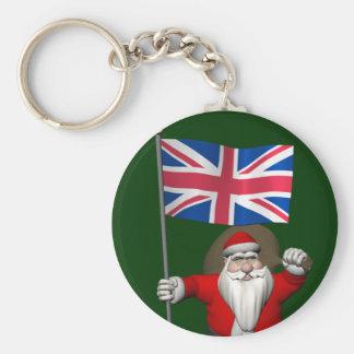 イギリスの旗を持つサンタクロース キーホルダー