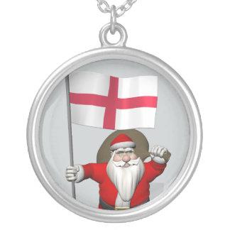 イギリスの旗を持つサンタクロース シルバープレートネックレス