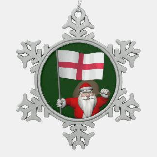 イギリスの旗を持つサンタクロース スノーフレークピューターオーナメント