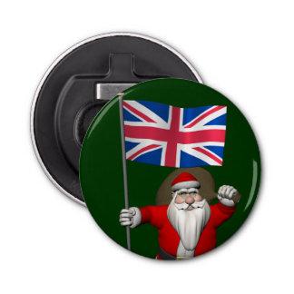 イギリスの旗を持つサンタクロース 栓抜き