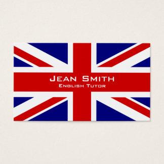 イギリスの旗を持つ英国の個人教師/英語の先生 名刺