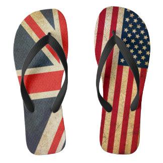 イギリスの旗米国の旗の習慣のビーチサンダル ビーチサンダル