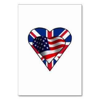 イギリスの米国旗のハート カード