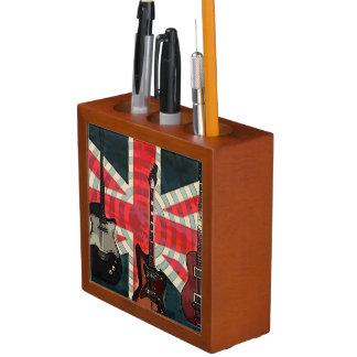 イギリスの英国国旗の旗の石ロールエレキギター ペンスタンド
