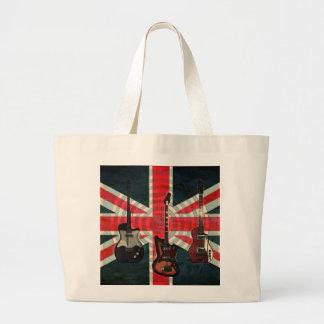 イギリスの英国国旗の旗の石ロールエレキギター ラージトートバッグ