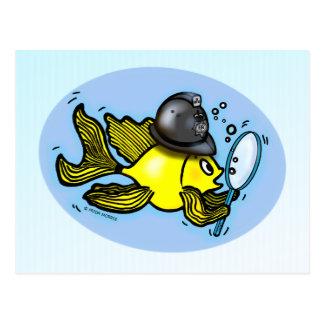 イギリスの警官魚のおもしろいなボビーの漫画 ポストカード
