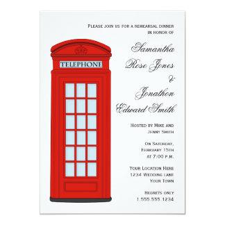 イギリスの赤い電話ボックスの結婚式のリハーサルの夕食 カード