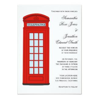 イギリスの赤い電話ボックスの結婚式招待状 カード