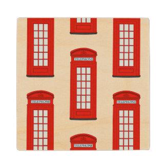 イギリスの赤い電話ボックスパターン ウッドコースター