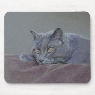 イギリスの青いshorthair猫の絵画 マウスパッド