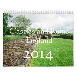 イギリスの2014カレンダー、城および台なし カレンダー