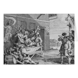 イギリスの「侵入」のプレートII、1756年 グリーティングカード
