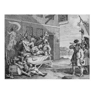イギリスの「侵入」のプレートII、1756年 ポストカード