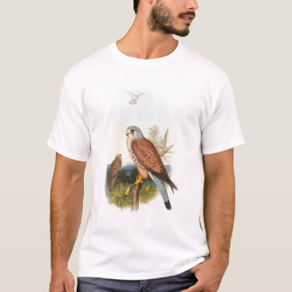 イギリスのKestrelの《鳥》ハヤブサのジョンGouldの鳥 Tシャツ