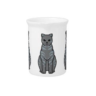 イギリスのShorthairの煙猫の漫画 ピッチャー