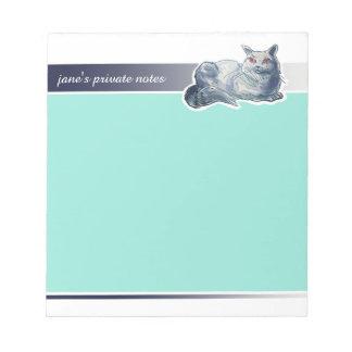 イギリスのshorthair猫の漫画のスタイルのイラストレーション ノートパッド