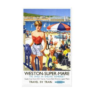 イギリスのWestonによってすごいロバのヴィンテージ旅行ポスター キャンバスプリント