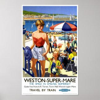 イギリスのWestonによってすごいロバのヴィンテージ旅行ポスター ポスター