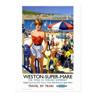 イギリスのWestonによってすごいロバのヴィンテージ旅行ポスター ポストカード