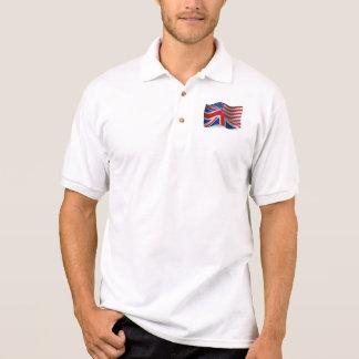 イギリスアメリカの振る旗 ポロシャツ