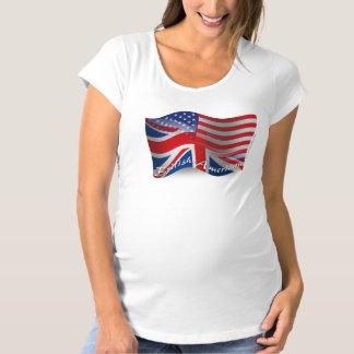 イギリスアメリカの振る旗 マタニティTシャツ