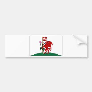 イギリスカーディフ旗 バンパーステッカー
