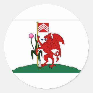 イギリスカーディフ旗 ラウンドシール