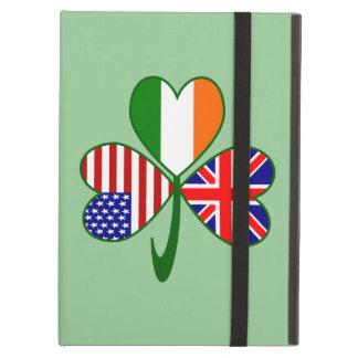 イギリスシャムロックの緑の背景 iPad AIRケース
