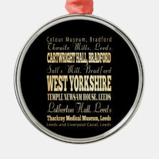 イギリスタイポグラフィのウェスト・ヨークシャー都市 メタルオーナメント