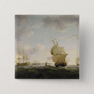 イギリス海峡で出荷します、c.1755 (カリフォルニアの油 5.1cm 正方形バッジ
