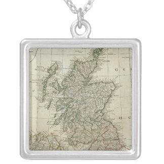 イギリス諸島の完全な地図 シルバープレートネックレス