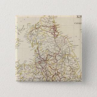 イギリス運河、鉄道 5.1CM 正方形バッジ