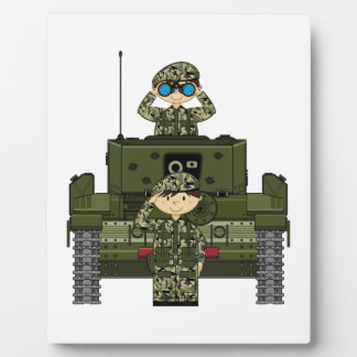 イギリス陸軍の兵士およびタンクプラク フォトプラーク
