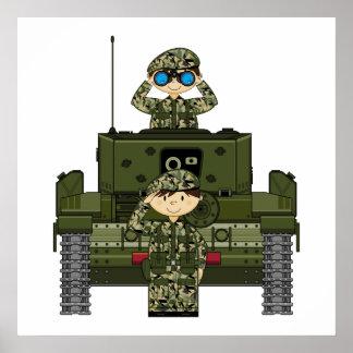 イギリス陸軍の兵士およびタンクポスター ポスター