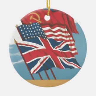イギリス、ソビエト社会主義共和国連邦、米国及び中国の旗 セラミックオーナメント