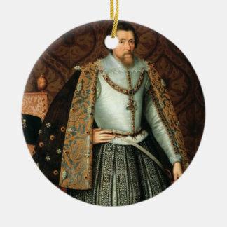 イギリス(1566-1625年)のジェームスI王(キャンバスの油 セラミックオーナメント