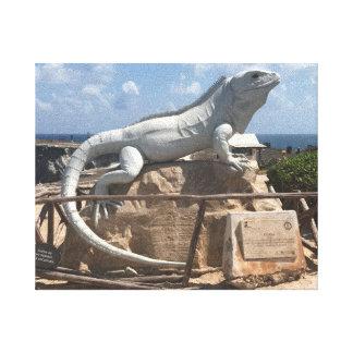イグアナの彫刻Isla Mujeresのメキシコのキャンバス キャンバスプリント