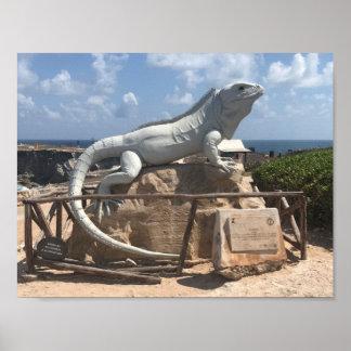 イグアナの彫刻Isla Mujeresのメキシコポスター ポスター