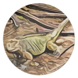 イグアナの絵画 プレート