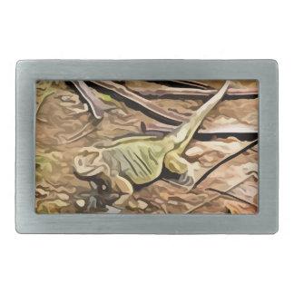 イグアナの絵画 長方形ベルトバックル