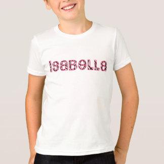 イザベラ-名前入りなシマウマのピンクの名前のワイシャツ Tシャツ