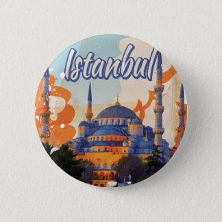 イスタンブールのヴィンテージ旅行ポスター 5.7CM 丸型バッジ