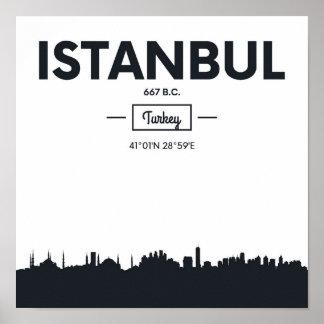 イスタンブール、トルコ|都市座標 ポスター