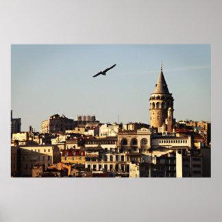 イスタンブール-日没のGalataタワー ポスター