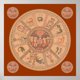 イスラエルのヘブライ(占星術の)十二宮図の車輪 ポスター