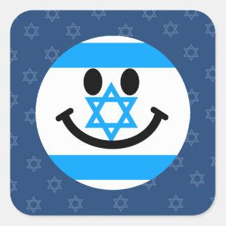 イスラエルの旗のスマイリーフェイス スクエアシール